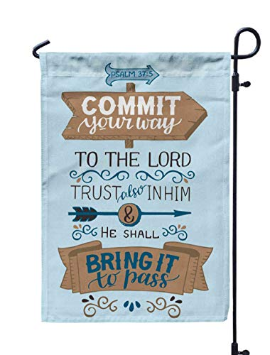 Shorping Farm Garden Flag, 12x18Inch Lettering Your Way to The Lord Trust Also in Him and He Shall Bring Pass for Holiday and Seasonal Double-Sided Printing Yards Flags]()