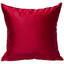 "TangDepot Solid Silky Throw Pillow Covers, Shining and Luxury Cushion Covers, Square Decorative Pillow Covers, Indoor/Outdoor Pillows Shells - (22""x22"", Red)"