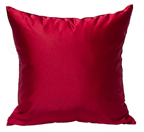 TangDepot Solid Silky Throw Pillow Covers, Shining and Luxury Cushion Covers, Square Decorative Pillow Covers, Indoor/Outdoor Pillows Shells - (18