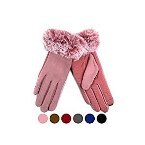 Women's Faux-Fur Cuff touch Screen Gloves with Non Slip Grip & Fleece Lining