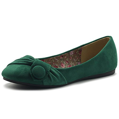 Ollio Women's Shoe Faux Suede Decorative Button Ballet Flat ZM1707F (7.5 B(M) US, Green) -