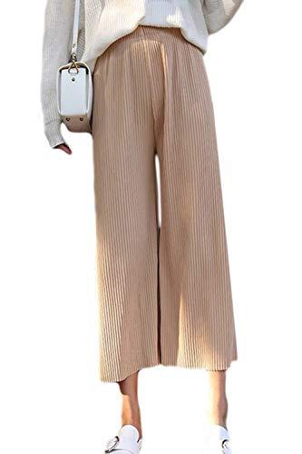 Fasumava Donne In Pantaloni Lunghi Primavera Autunno Casual Elastica Ampia Gamba Piegata Cachi