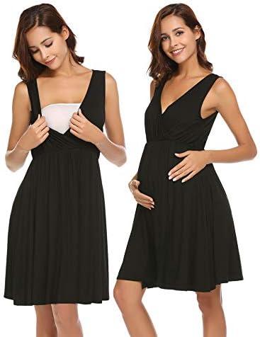 Ekouaer Sleeveless Maternity Nightgown Womens Nursing Delivery Labor Nightshirts Breastfeeding Nightdress Hospital S-XXL