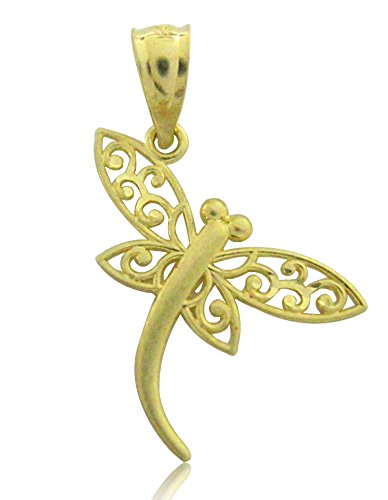 14k Solid Yellow Gold DragonFly Dragon Fly Charm Pendant