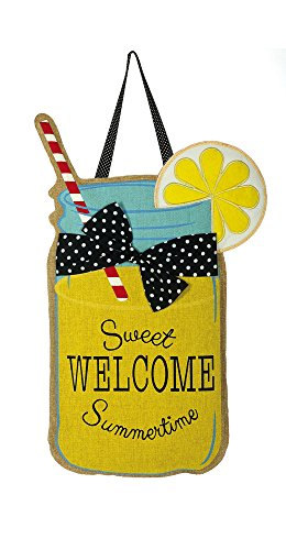 "Evergreen Welcome Sweet Summertime Lemonade Hanging Outdoor-Safe Burlap Door Décor - 13""W x 22""H (Door Hangers Spring)"