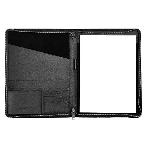 Zip Card Office - CARMEL CONCEPT Professional Padfolio with Bonus Notepad, PU Leather Portfolio Folder with Zip, Slim Holder Sleeves for Resume Interview Notebook Business Card Writing Document Storage & Tablet (Black)