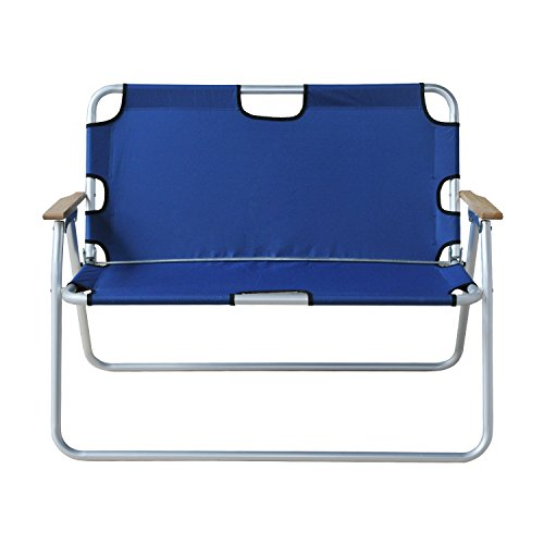 Outsunny 2-Person Folding Aluminum Love Seat Camping Chair - Blue - Folding Wooden Camp Chair
