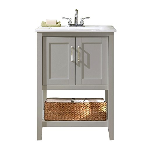 Legion Furniture WLF6020-G 24'' Single Sink Bathroom Vanity with Ceramic Sink Top, Gray Finish by Legion Furniture