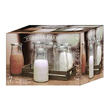 Circleware Sunrise Farm Glass Milk Bottles/Drinking Glasses with Wooden Tray, 16 Ounce, Set of 7, 6 Bottles, 1 Tray, Limited Edition Glassware Serveware Drinkware