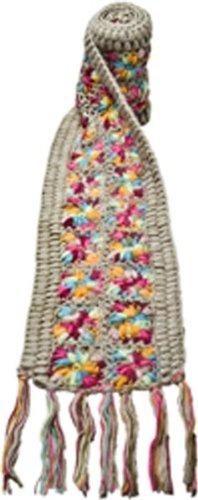 Nirvanna Designs SC07 Flower Crochet Multi Color Scarf, Grey Multi
