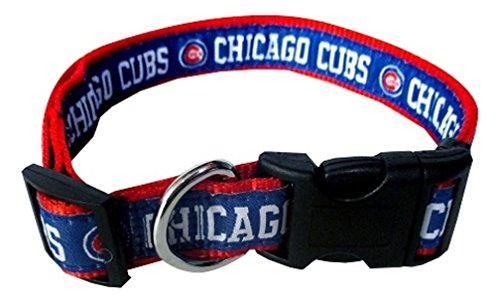Pets First MLB CHICAGO CUBS Dog Collar, X-Large - Chicago Cubs Adjustable Dog Collar