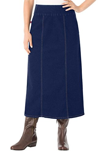 Bargain Catalog Outlet Woman Within Plus Size Comfort Waist A-Line Denim Skirt (Indigo,20 W)
