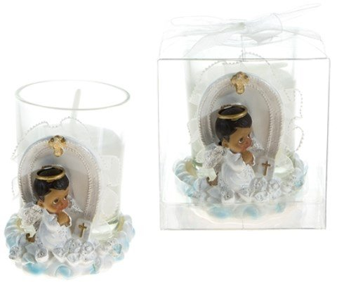 DD Ethnic Praying Baby Angel Poly Resin Candle Set - Blue(pack Of 48) Blue Cross Candle Favors