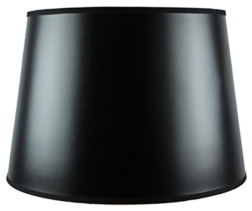 - 13x16x11 Black Parchment Gold-Lined Floor Lampshade with Brass Spider fitter By Home Concept - Perfect for table and Desk lamps - Large, Black