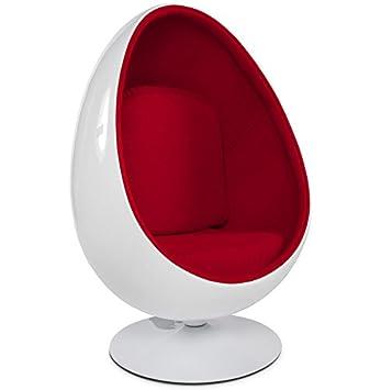 Fauteuil œuf COCOON noir et rouge Fauteuil egg design