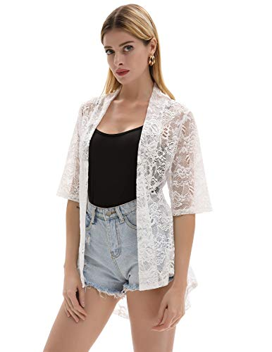 Lightweight Elastic Lace Open Front Shrug Cardigian Ivory Size S CL964-2 ()