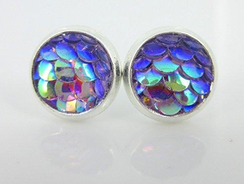 Silver-tone Light Purple Metallic Mermaid Scale Stud Earrings 8mm