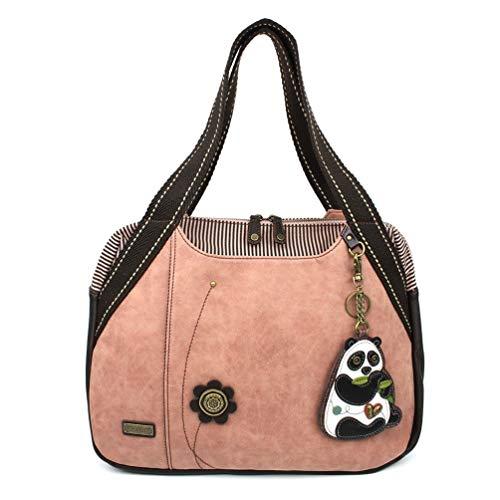 Chala Handbag Bowling Zip Tote Large Bag Pleather Rose Pink Panda Coin Purse