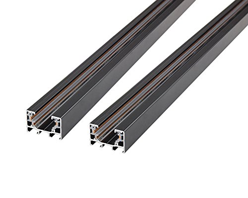 J.LUMI RAL3002 Track Light Rails, 3-Wire Single Circuit Track, Black Paint Finish, 3-Ft per Section (Pack of 2 Sections), Compatible with TRK9000, TRK9001, TRK9601 Track (3 Light Rail Light)