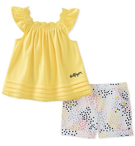 Tommy Hilfiger Baby Girls Shorts Set, Yellow/Print, 3-6 Months