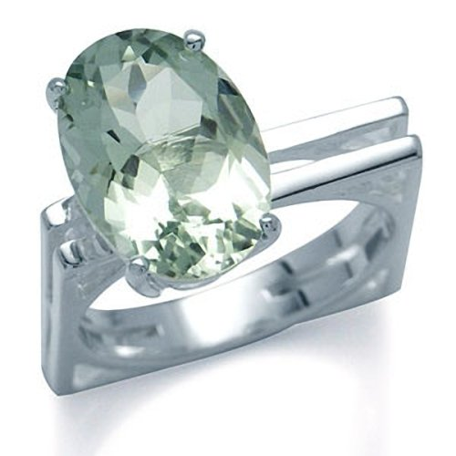 5.9ct. Natural Green Amethyst 925 Sterling Silver Solitaire Ring Size - Green Amethyst Solitaire