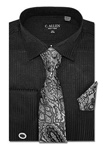 (C. Allen Men's Solid Striped Pattern Regular Fit Dress Shirts with Tie Hanky Cufflinks Combo 18.5 Neck 36/37 Black)