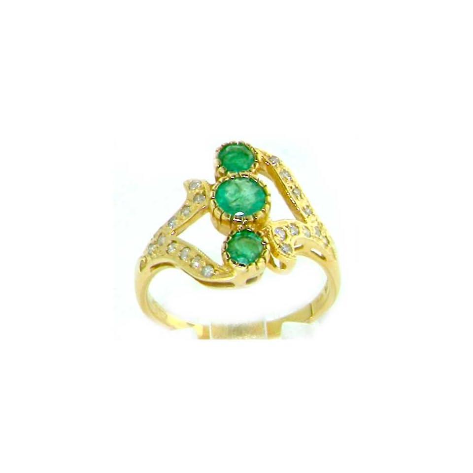 Luxury Womens 9K Yellow Gold Emerald & Diamond Ring  Size 7