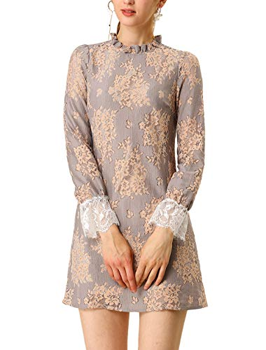 Allegra K Women's Ruffle Crew Neck Formal Elegant Mini Floral Lace Dress Grey Pink XS (US 2)