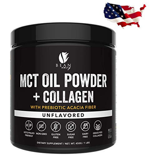 MCT Oil Powder + Collagen + Prebiotic Acacia Fiber - 100% Pure MCT's - Perfect for Keto - Energy Boost - Nutrient Absorption - Healthy Gut Support - ()