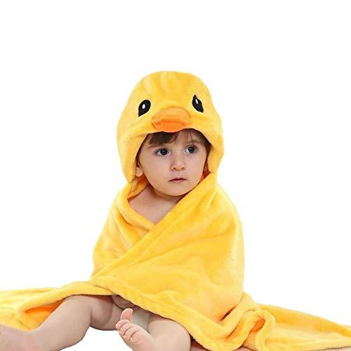Baby Blanket Hooded Plush Animal Soft Blanket for Newborns (Yellow Duck)