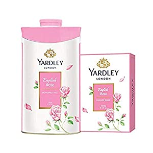 Yardley London English Rose Luxury Soap for Women, 100g (Pack of 4) + Yardley London English Rose Perfumed Talc for Women, 100g