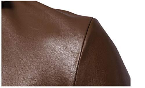 XINHEO 1 Solid Long Lapel Coat Slim Sleeved Mens Leather Faux Fit fTrHfaq