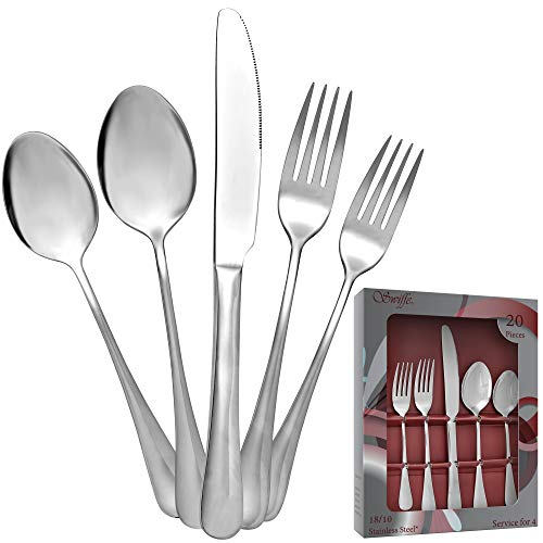20 Piece 18/10 Stainless Steel Silverware Set - Multipurpose Flatware Utensils for Party, Wedding, Restaurant, Home Dining, Elegant Mirror Finish - Durable, Dishwasher Safe - Service for 4 - by Swiffe