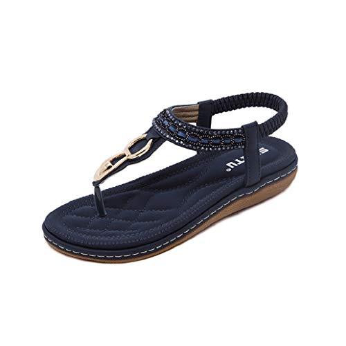 Photno Summer Flat Sandals Ladies Bohemia Beach Flip Flops Shoes Sandles Clip Toe Shoe Blue ()