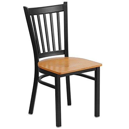 Flash Furniture HERCULES Series Black Vertical Back Metal Restaurant Chair - Natural Wood Seat (Chairs Dining Hospitality)
