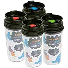 11 oz. Design Your Own Photo Travel Mugs Drink Cup Tumbler Hot Cold Pack of 4 (Flip Top Lid Color Chosen at Random)