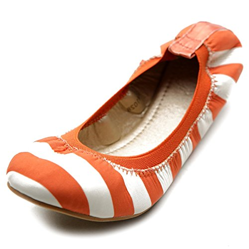 Ballet Cute Ollio Shoe Color Flat Comfort Orange Women's Multi 5rwwUqxSI