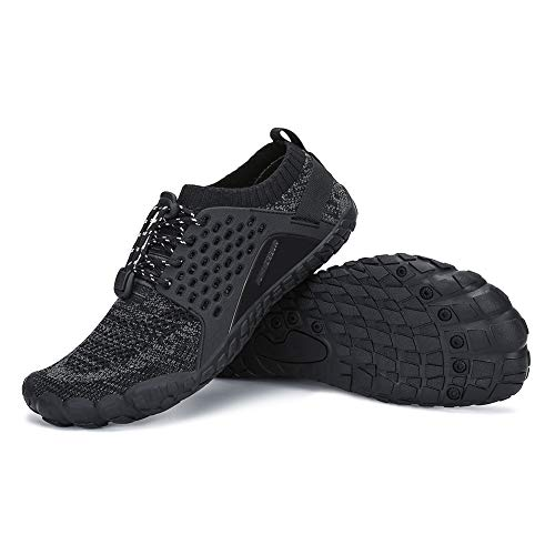 AMOCOCO Men's Women's Minimalist Trail Running Barefoot Shoes | Wide Toe Box Quick Drying Beach Sneakers Black
