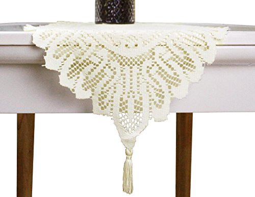 GEFEII Home Kitchen Embroidered Lace Table Runner and White Dresser Scarves For Banquet Dining Party Wedding Decorations (Ivory, 13 X 54)