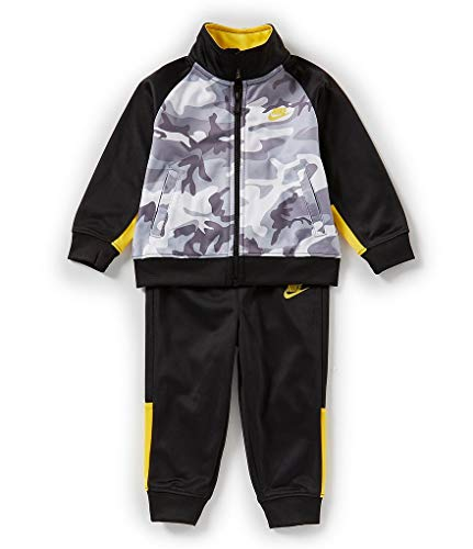 NIKE Boys 2 Piece Therma-FIT Zip Hoodies & Pants Set (Black(86D698-023)/Yellow/Camo, 12 Months)