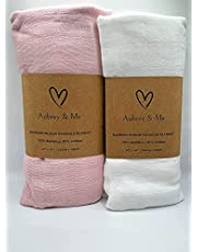Aubrey & Me Muslin Baby Swaddle Blankets, Pink/White Solid Color Baby Swaddling for Boys & Girls, 70% Bamboo & 30% Cotton, Lightweight, Breathable, Large 47 x 47 inches