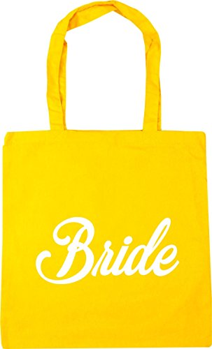HippoWarehouse Bride Tote Shopping Gym Beach Bag 42cm x38cm, 10 litres Yellow