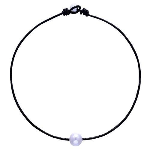 White Single 12 mm Artificial Pearl Handmade Choker Necklaces for Women on Black Original Leather Cord (14'' Black)