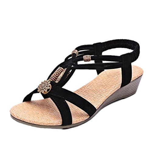 Clearance! Hot Sale! ❤️ Women's Sandals, Neartime Summer Comfortable Casual Peep-toe Flat Buckle Shoes Roman Style Sandals (8.5, Black)