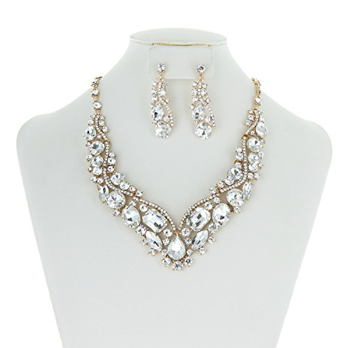 Prom Necklace Set - SP Sophia Collection Women's Wedding Bridal Austrian Crystal Necklace and Earrings Jewelry Set in Gold