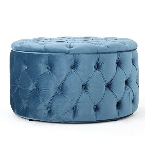 Christopher Knight Home 300776 Living Zuma New Velvet Ottoman (Aqua), Baby Blue (Velvet Ottoman Round)