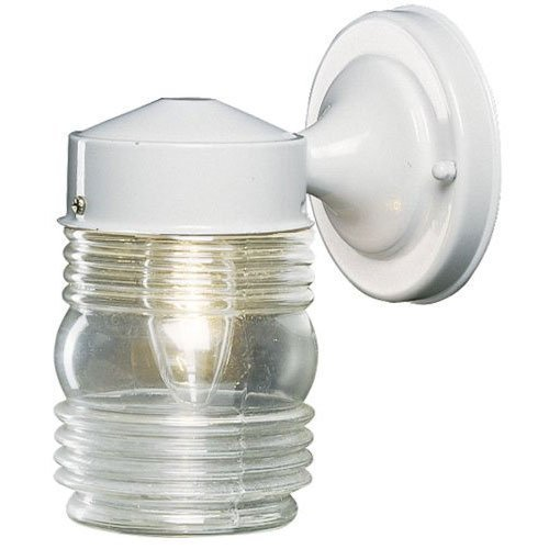 Hardware House 54-4445 Jelly Jar - One Light Outdoor Wall Mount, White Finish with Ribbed ()