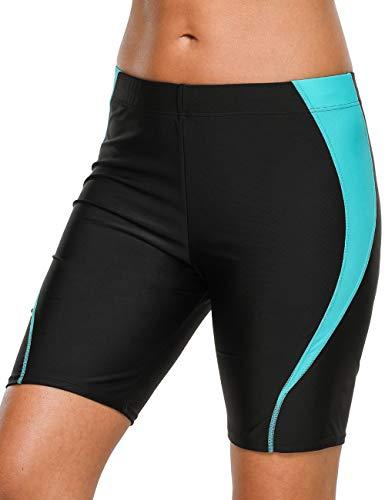 CharmLeaks Women Knee Length Swim Shorts Splice Boardshort Swimwear Trunks XL Black - -