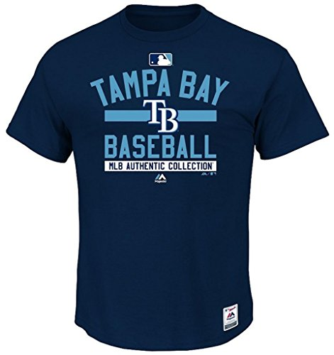 Tampa Bay Rays MLB Majestic Mens Color Block Authentic Collection Shirt Navy Blue Big & Tall Sizes (3XL)