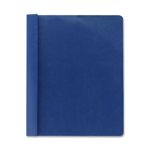 Smead Clear Front Report Cover, 3 1/2 Inches Double Tang Fasteners, Letter Size, Dark Blue, 25 per Box (87455)